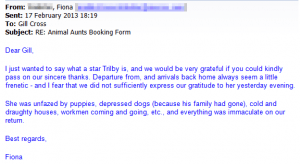 dog sitter 'unfazed'