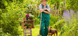 Gardener with dog